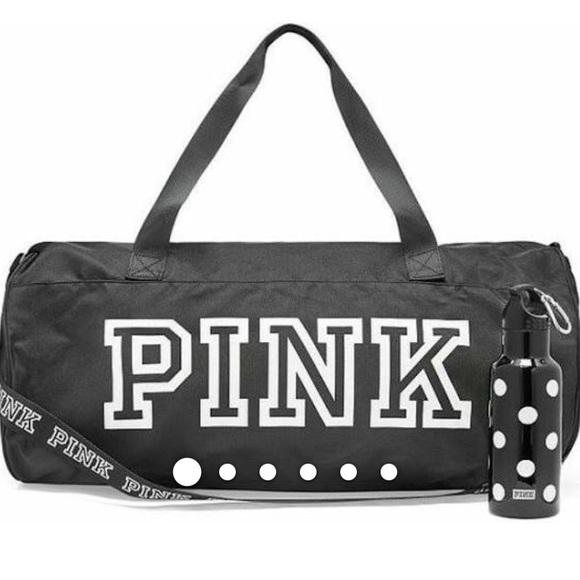 PINK Handbags - VS PINK Duffle Bag and water bottle black New